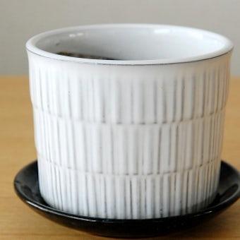 Upsala Ekeby/ウプサラエクビイ/陶器の植木鉢(白)(受け皿付き)の商品写真