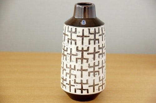 Upsala Ekeby/ウプサラエクビイ/Mari Simmulson/陶器の花瓶(ホワイト×ブラウン)の商品写真