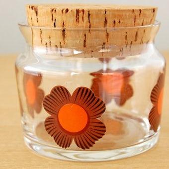 スウェーデンで見つけた可愛いガラスキャニスター(ブラウンのお花模様)の商品写真