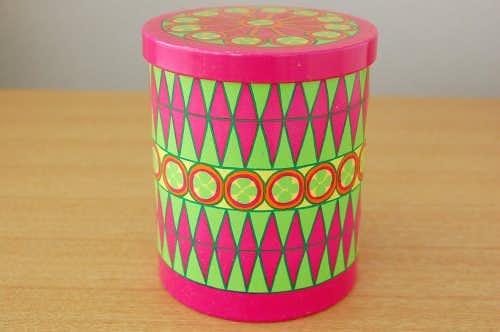 デンマーク/IRA社製/古いブリキ缶(ピンク&グリーン)の商品写真