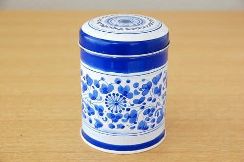 スウェーデンで見つけた紅茶缶(ブルーのお花と小鳥)の商品写真