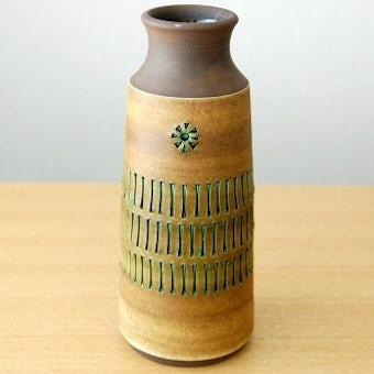 スウェーデンで見つけた陶器の花器(ブラウン)の商品写真