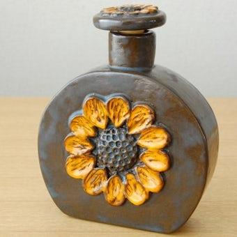 スウェーデンで見つけたお花模様の蓋付きボトル(ブラウン)の商品写真