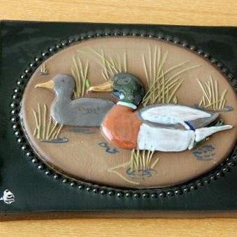 スウェーデン/JIE釜/陶板の壁掛け(カモの親子)の商品写真