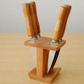 スウェーデンで見つけた木製台付フルーツナイフセットの商品写真