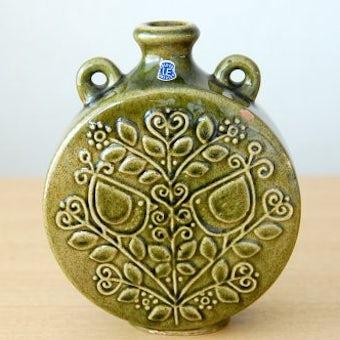Upsala Ekeby/ウプサラエクビイ/陶器の花瓶(少々難あり・モスグリーン)の商品写真