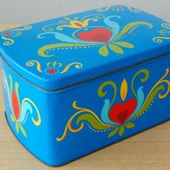 スウェーデンで見つけ古いブリキ缶(ブルー)の商品写真