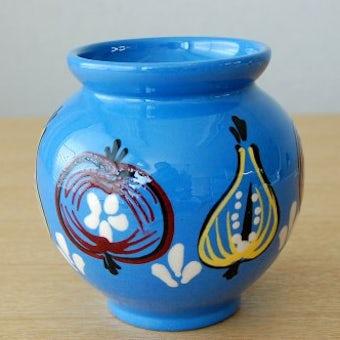 スウェーデンで見つけた果物柄の陶器のジャムポット(ブルー)の商品写真