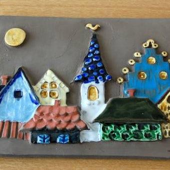スウェーデン/JIE釜/陶板の壁掛け(月とお家)の商品写真