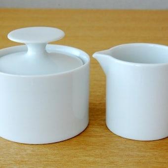 デンマークで見つけた陶器のシュガーポット&クリーマーセット(ホワイト)の商品写真