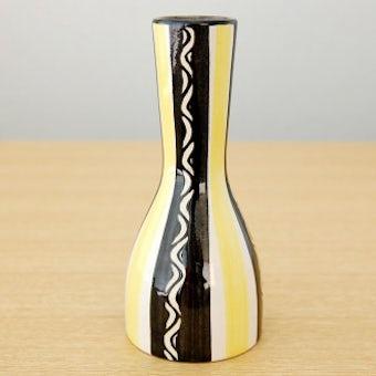 スウェーデンで見つけた陶器の一輪挿し(ブラック×イエロー)の商品写真