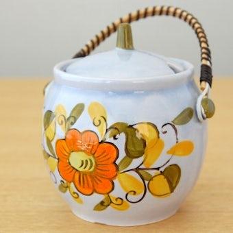 デンマークで見つけた陶器のマスタードポット(オレンジ色の花)の商品写真