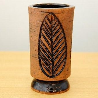スウェーデン/LAHOLM/陶器の花瓶(葉っぱ模様)の商品写真