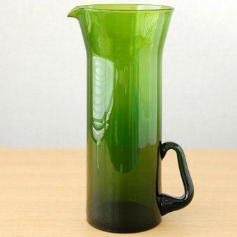 スウェーデンで見つけたグリーンのガラスが美しい大きなピッチャー(花瓶)の商品写真