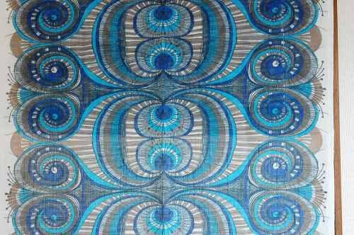 スウェーデンで見つけたヴィンテージカーテン2枚セット(ブルー・花柄)の商品写真