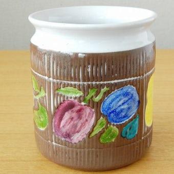 Upsala Ekeby/ウプサラエクビイ/Mari Simmulson/陶器のジャムポット(果物模様)の商品写真