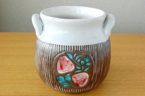 Upsala Ekeby/ウプサラエクビイ/Mari Simmulson/持ち手つき陶器のジャムポット(果物模様)の商品写真