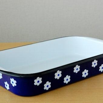 デンマークで見つけたホーロー製オーブン皿(ブルー・花柄)の商品写真