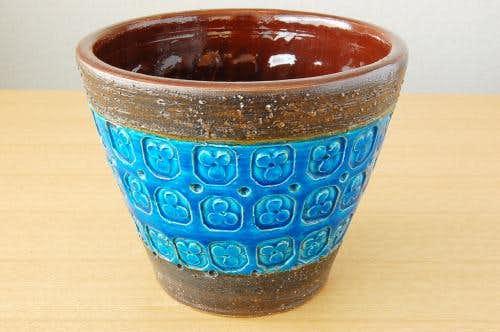 デンマークで見つけたブルーの釉薬が美しい陶器の植木鉢カバー(L)の商品写真