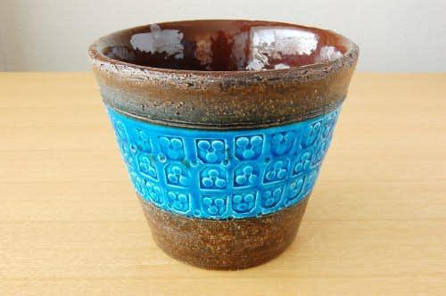 デンマークで見つけたブルーの釉薬が美しい陶器の植木鉢カバー(M)の商品写真