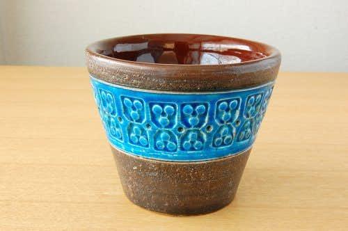 デンマークで見つけたブルーの釉薬が美しい陶器の植木鉢カバー(S)の商品写真