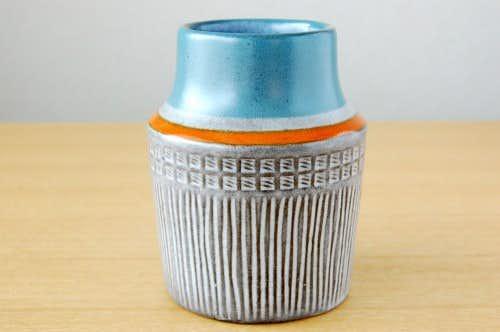 Upsala Ekeby/ウプサラエクビイ/Mari Simmulson/陶器の花瓶(小)(グレー&オレンジライン)の商品写真