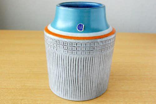 Upsala Ekeby/ウプサラエクビイ/Mari Simmulson/陶器の花瓶(大)(グレー&オレンジライン)の商品写真