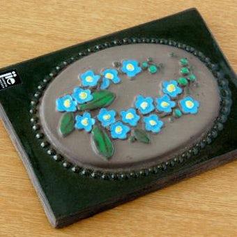 スウェーデン/JIE釜/陶板の壁掛け(ブルーのお花)の商品写真