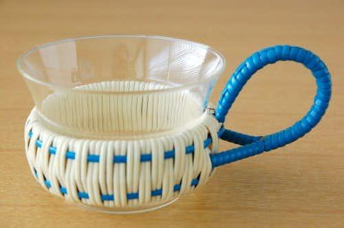 スウェーデンで見つけたストローカバー付きガラスのカップの商品写真