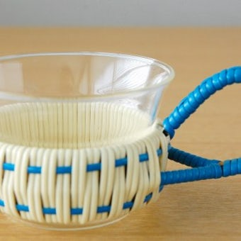 スウェーデンで見つけたストローカバー付きガラスのカップ(少々難あり)の商品写真