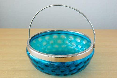 スウェーデンで見つけたガラス製のアイスペール(ブルー)の商品写真