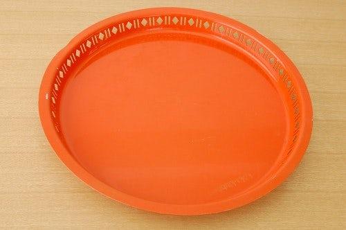 スウェーデンで見つけたブリキのトレー/サークル/オレンジ(大)の商品写真