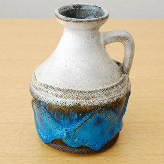 スウェーデンで見つけた陶器の花瓶(グレー×ブルー)の商品写真