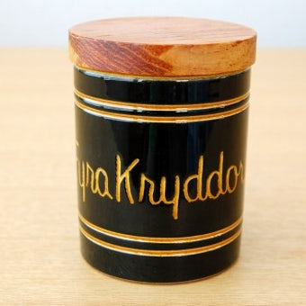 スウェーデンで見つけた木蓋付きスパイスポット/FyraKryddor/4つのスパイスの商品写真