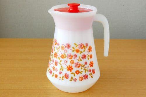 フランス製/レトロなお花模様のピッチャー(乳白色)の商品写真