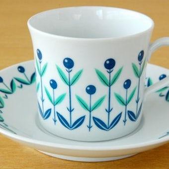 Upsala Ekeby/ウプサラ・エクビィ/KARLSKLRONA釜/実のようなお花の描かれたコーヒーカップ&ソーサーの商品写真