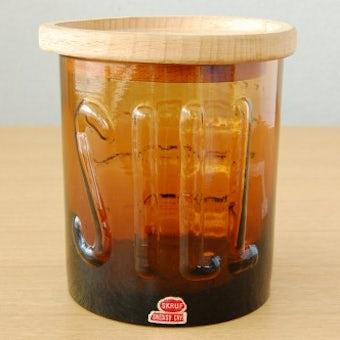 スウェーデン/SKRUF社/お魚模様のガラスキャニスター(ブラウン)の商品写真