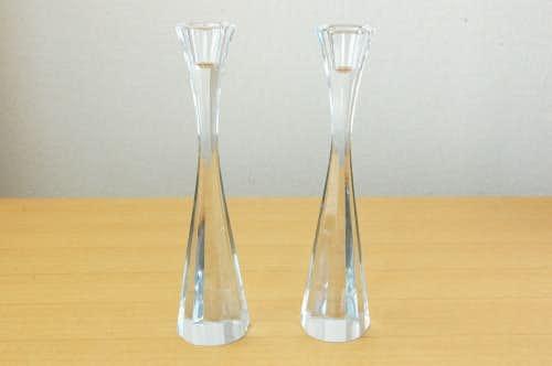 スウェーデンで見つけたガラス製キャンドルスタンド2個セットの商品写真