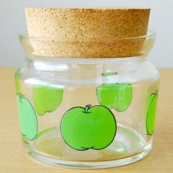 スウェーデンで見つけたガラスのキャニスター(青りんご)の商品写真