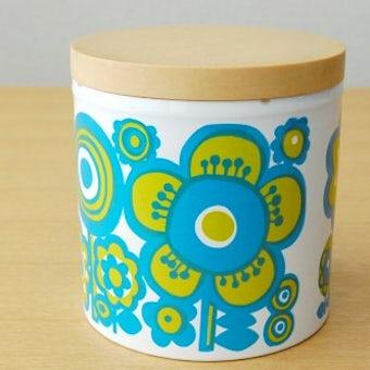 イギリス製/お花模様のキャニスター(水色×オリーブグリーン)の商品写真