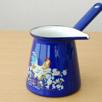 スウェーデンで見つけたホーロー製ミルクウォーマー/バターウォーマー(ブルー)の商品写真