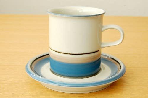 ARABIA/アラビア/コーヒーカップ&ソーサー(ブルー&ベージュのライン)の商品写真