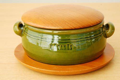 HOGANAS/ホガナス/陶器のポット(木蓋&木製トレー付き)の商品写真