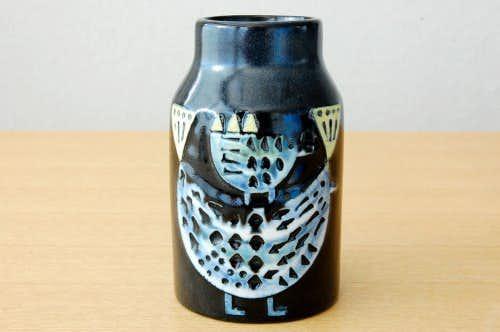 スウェーデンで見つけた陶器の花瓶(鳥の親子)の商品写真