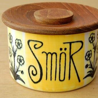 スウェーデン/JIE釜/木蓋付きの陶器のキャニスター(アヒルとお花)の商品写真