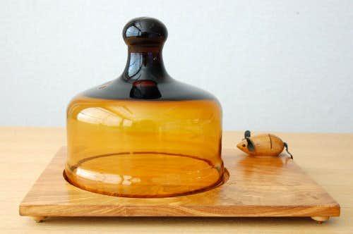 スウェーデンで見つけたガラスのチーズドーム(ブラウン)の商品写真