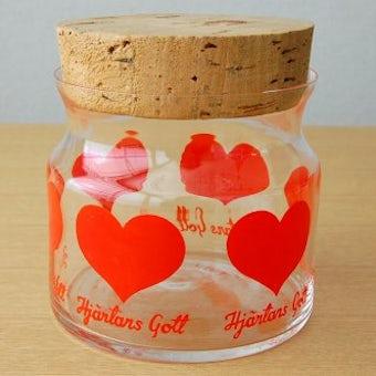 スウェーデンで見つけたハート模様のガラスのキャニスター(S)の商品写真