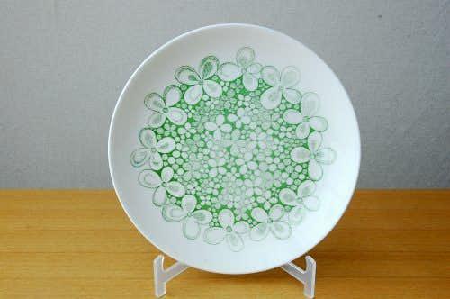 GUSTAVSBERG/グスタフスベリ/OLVON/グリーンのお花模様のプレート(21cm)の商品写真