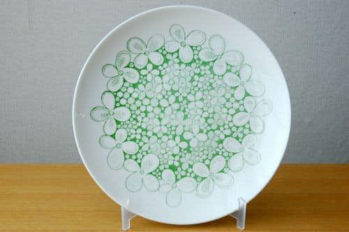GUSTAVSBERG/グスタフスベリ/OLVON/グリーンのお花模様のプレート(24cm)の商品写真