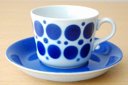 ARABIA/アラビア/ステンシル柄/コーヒーカップ&ソーサー(ブルー・ドット)の商品写真